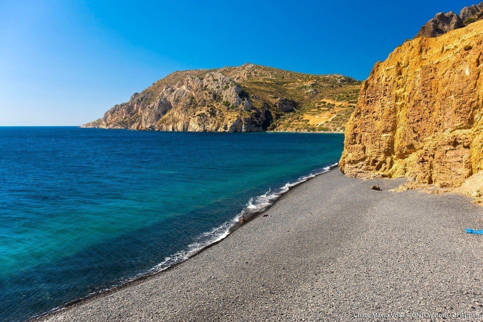 Veduta della spiaggia di Mavra Volia