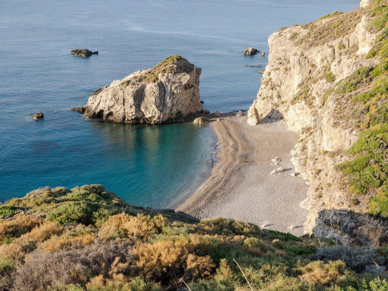 Blue Caves on Greek Sea