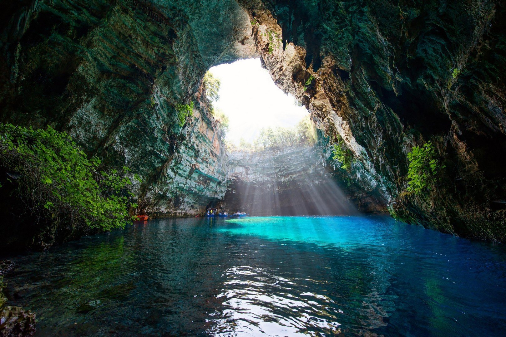 Famous melissani lake on Kefalonia island - Greece shutterstock_293479436