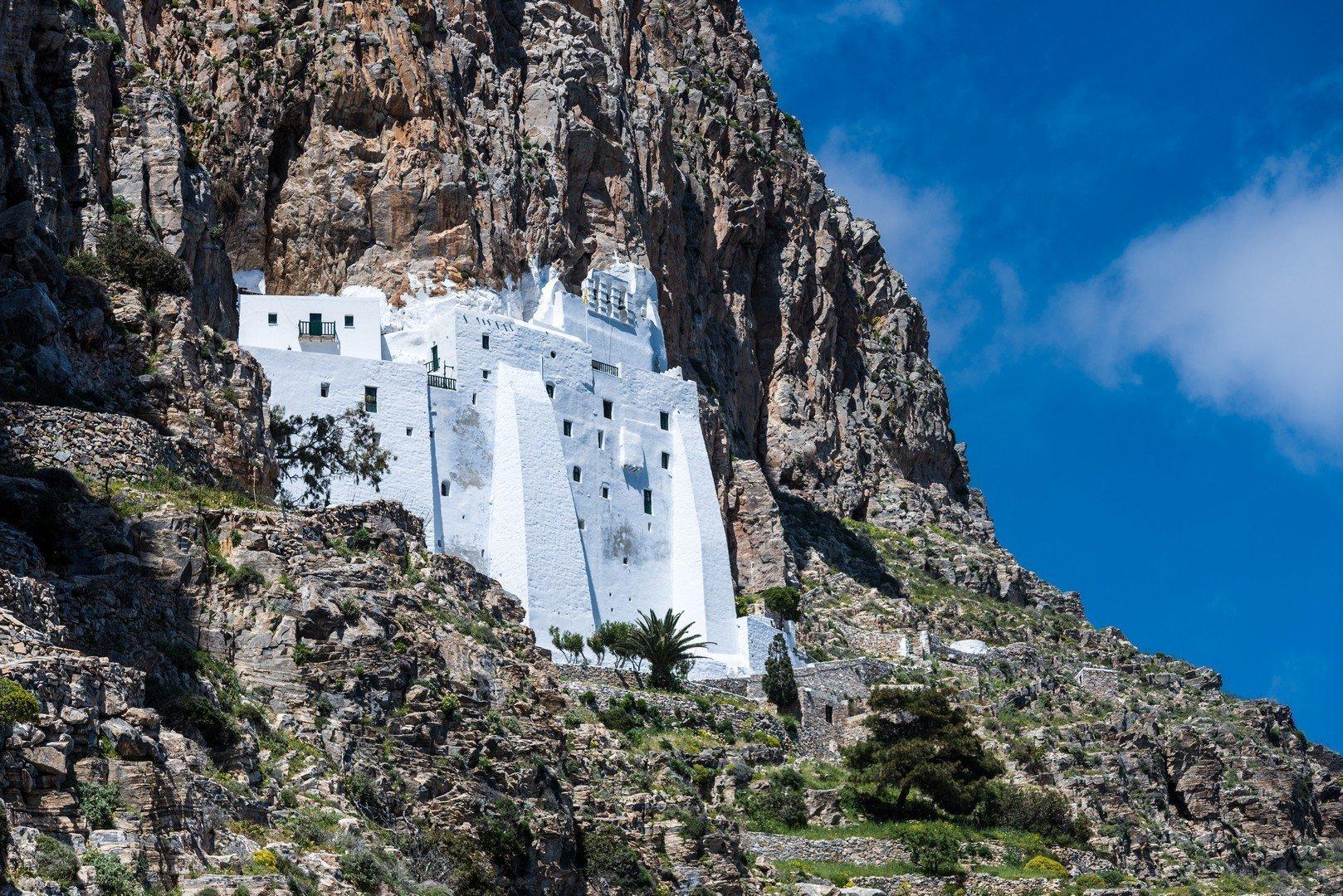 Chozoviotissa monastery, Amorgos island, Greece shutterstock_1374233903
