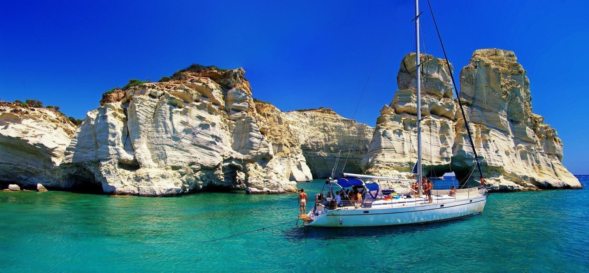 Greek holidays beautiful island Milos Kleftiko bay shutterstock_83374579