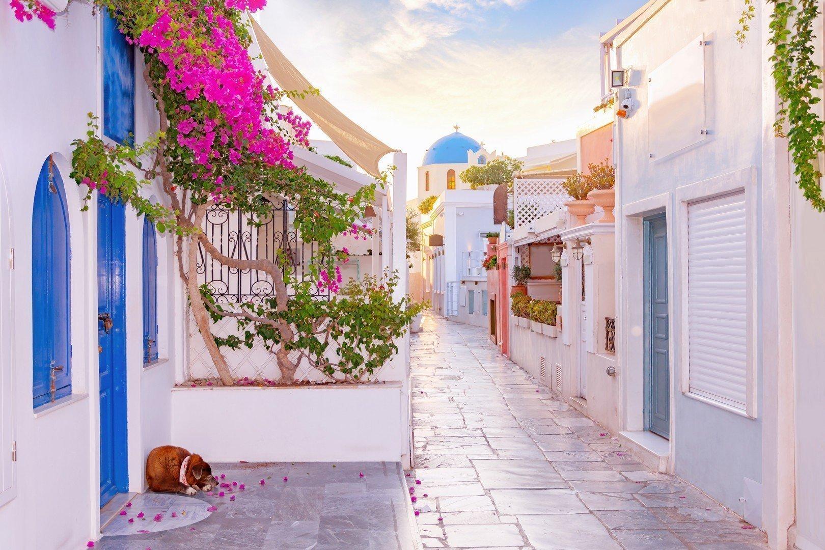 Un paseo por las calles estrechas de Santorini