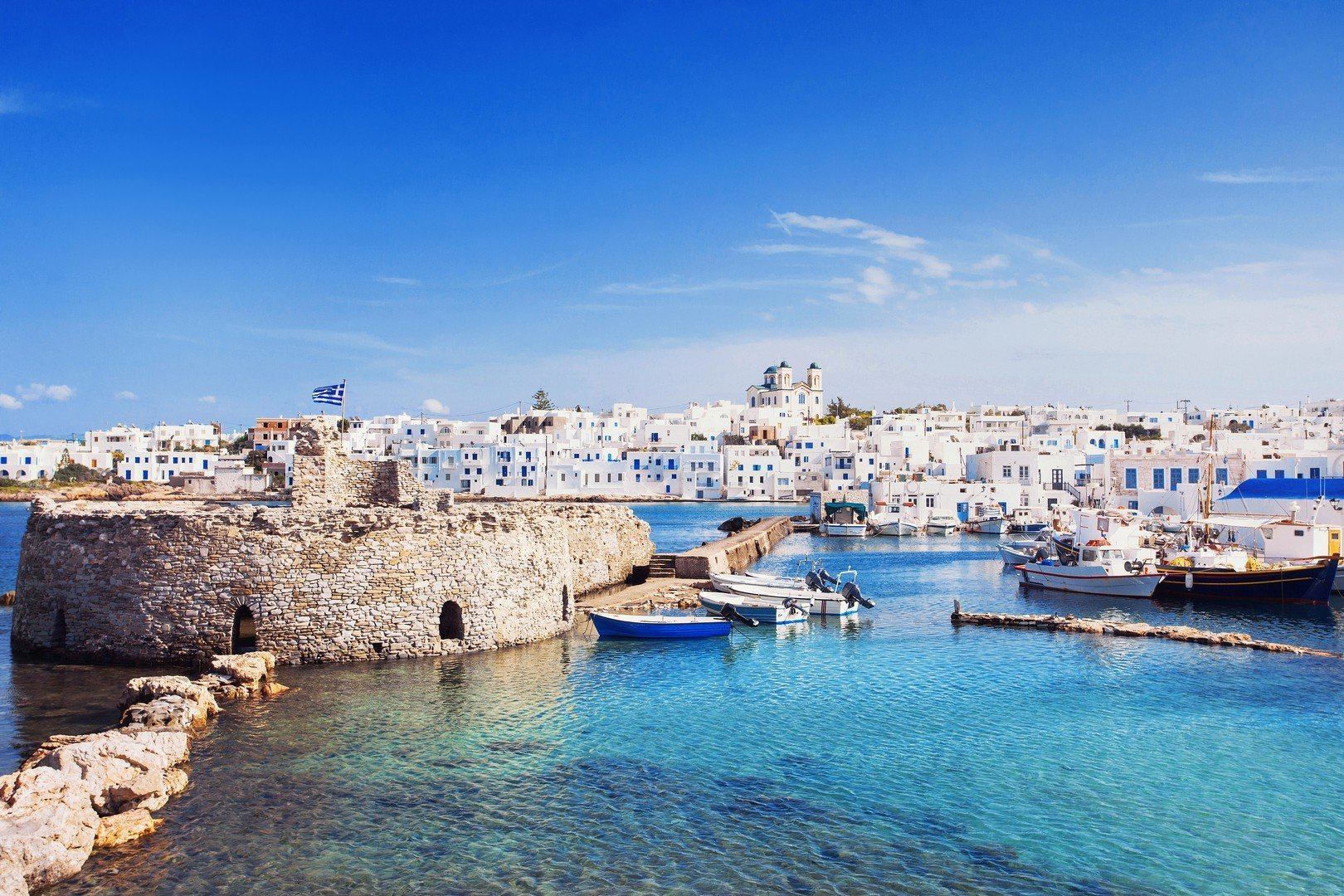 Picturesque Naousa village, Paros island, Cyclades, Greece - Imagen shutterstock_367041155
