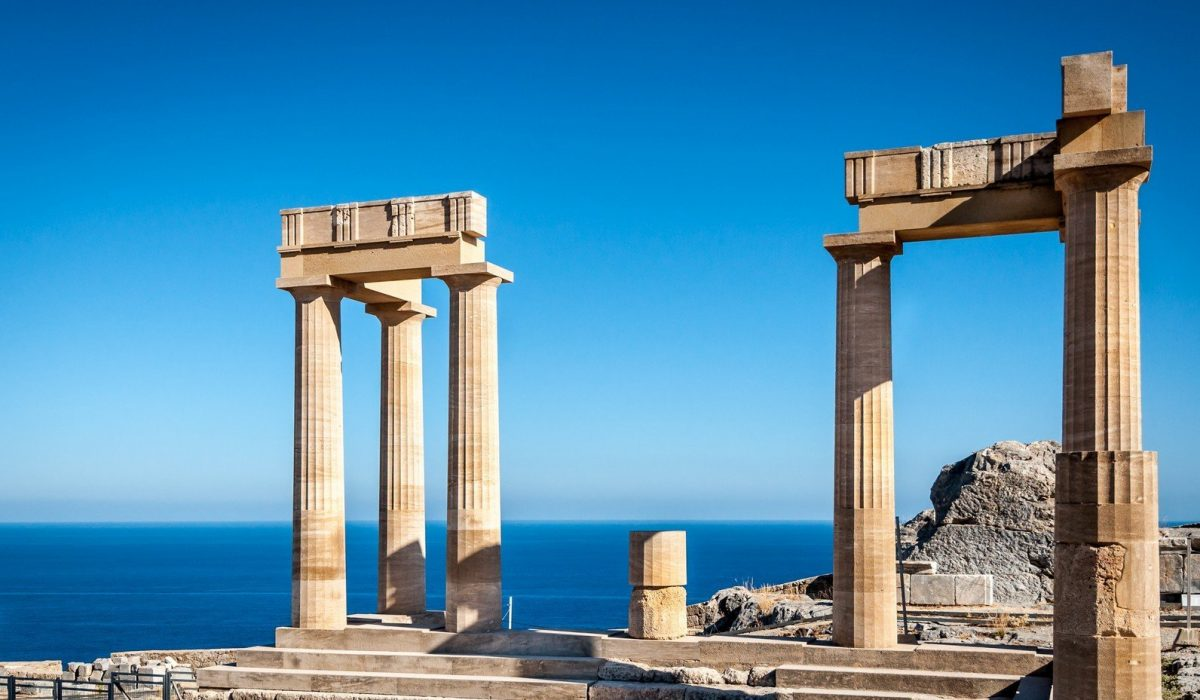 Columns of the ancient Lindos, Rhodes Greece shutterstock_648469984