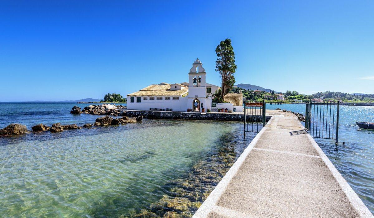 Famous Vlacherna monastery near Kanoni. Corfu, Greece. - Imagen shutterstock_559211128