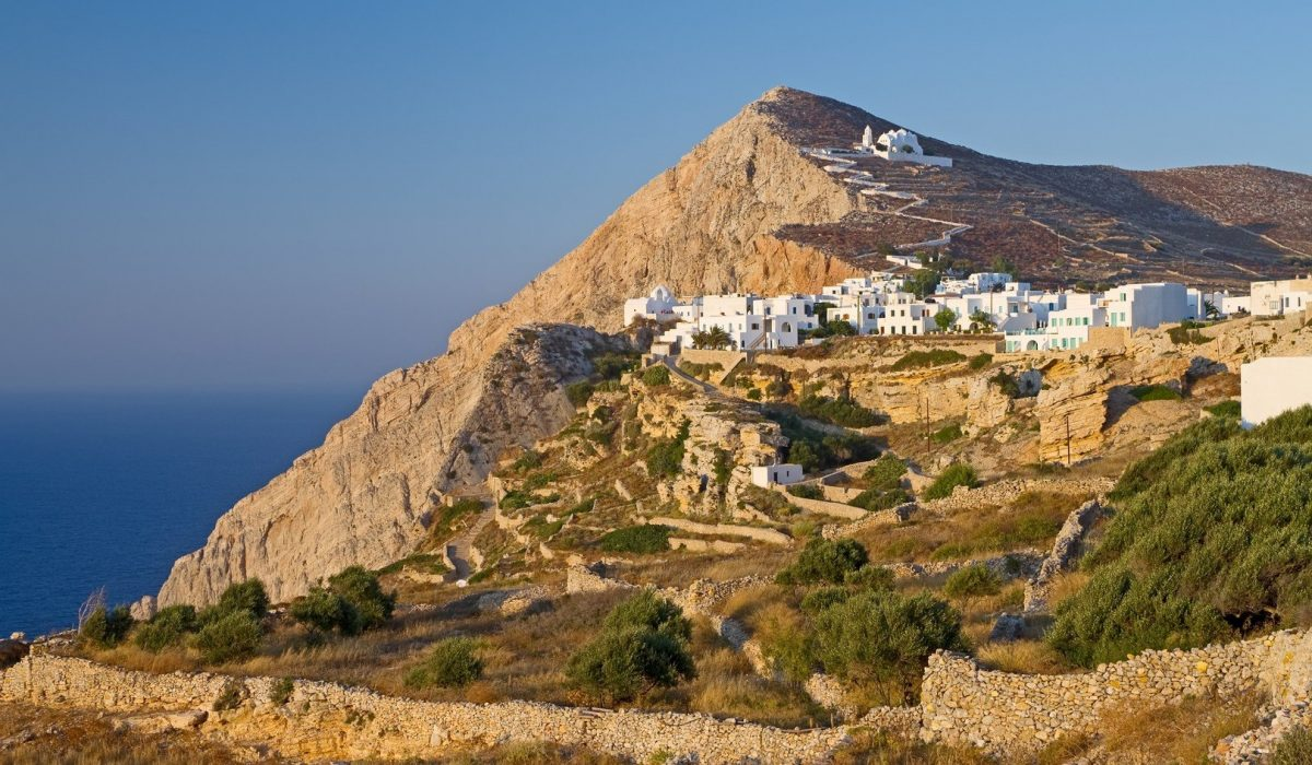 The barren landscape of Folegandros island in the Aegean sea, Greece; its capital town sits on the edge of a steep cliff