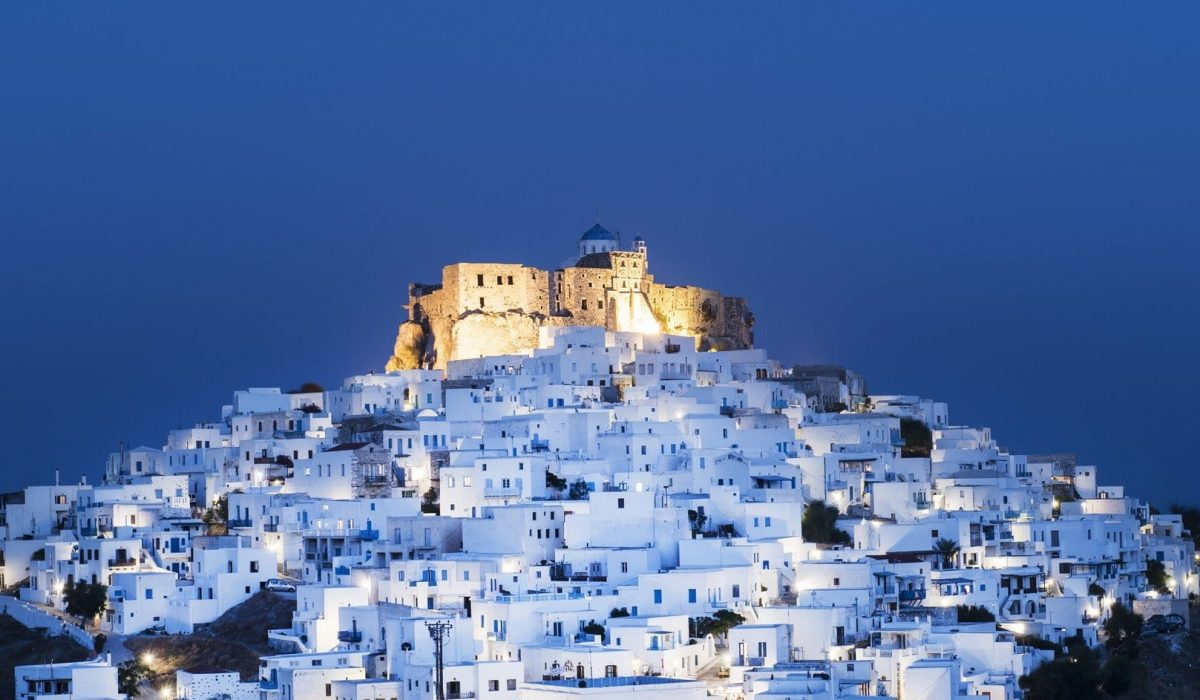 Night view of the historic Querini Castle and the town of Chora at the Greek island of Astypalaia in Dodecanese island complex shutterstock_513857761