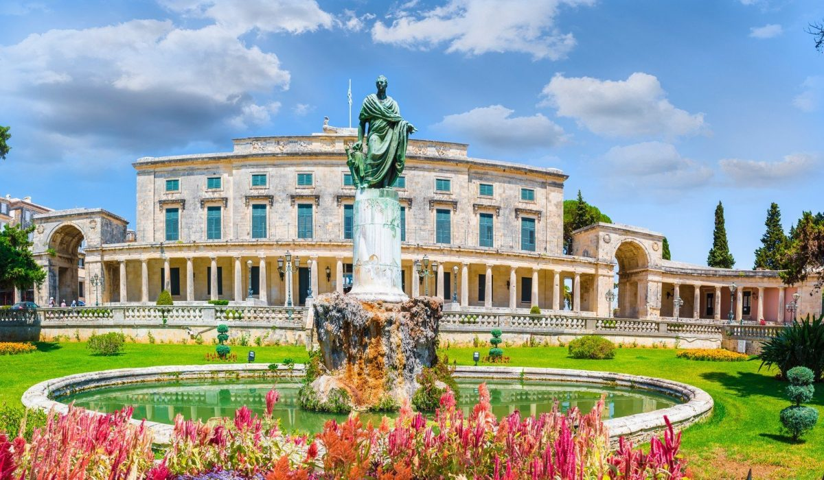 Old Royal Palace St Michael and St George in Corfu town, Greece shutterstock_1068378902