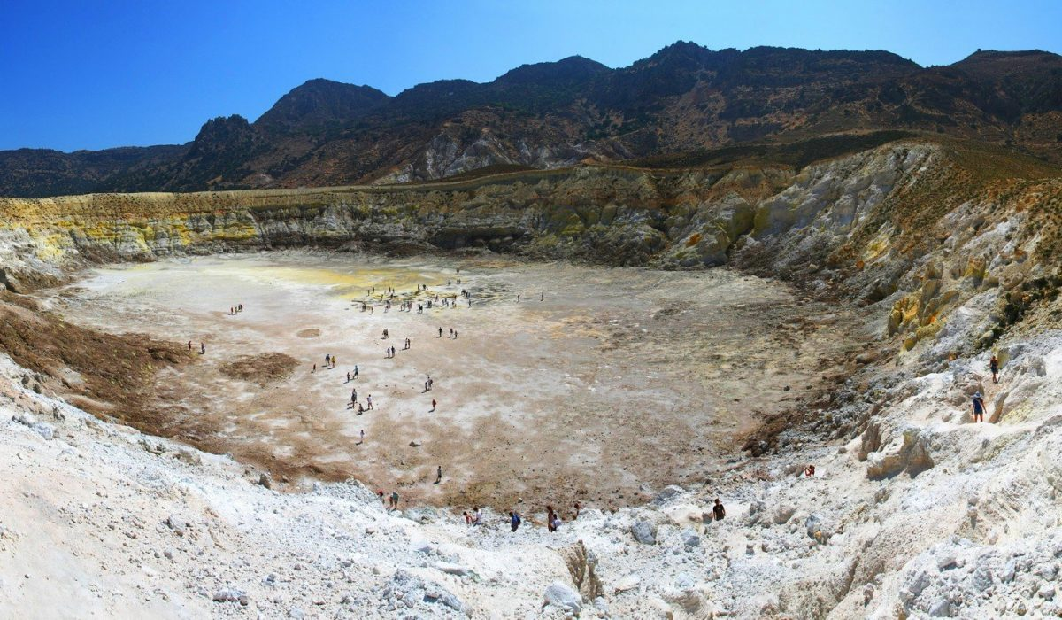 Panoramic view on great sulfuric volcano (Stefanos) on Nisyros island, Greece shutterstock_188072477