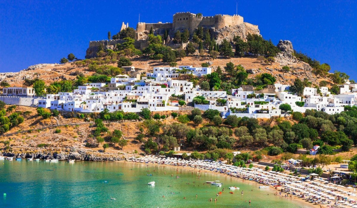 Rhodes island - famous for historic landmarks and beautiful beaches shutterstock_588105089
