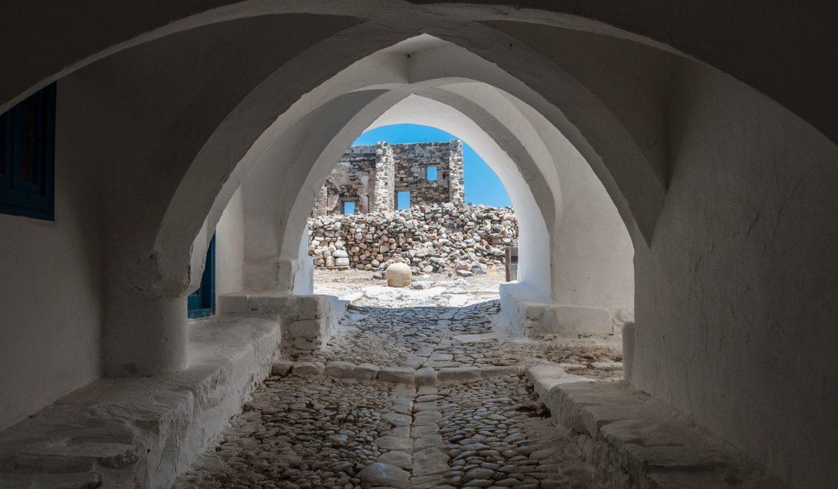 View of astypalaia's castle gate Astypalea is an aegean island of Greece shutterstock_767669914