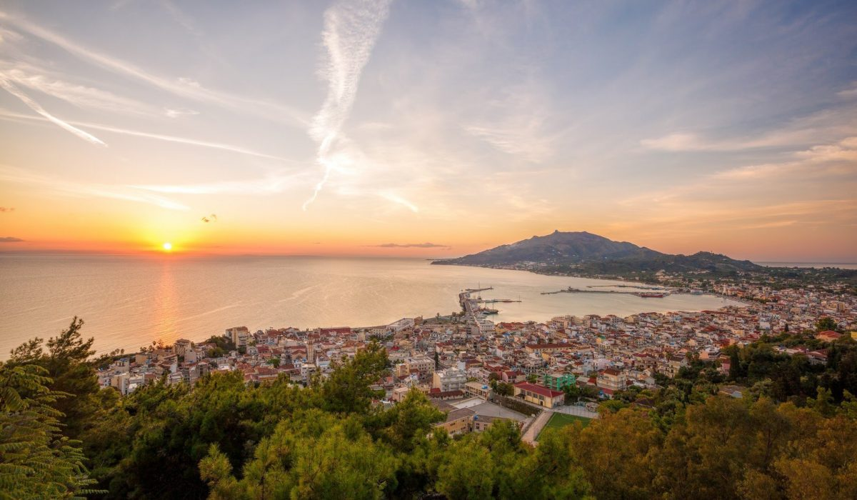 Zante town during sunrise on Zakynthos island in Greece shutterstock_343257758